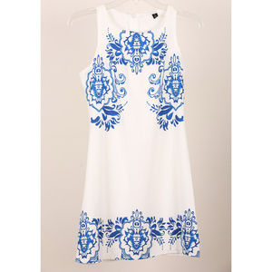 White and Royal Blue Dress